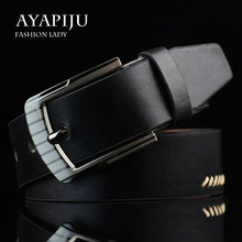 Mens leather alloy pin buckle jeans belt fashion business cow genuine mens youth luxury retro classic belts