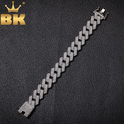 THE BLING KING 20mm Miami Prong Cuban Link Bracelet 3 Row Full Iced Out Rhinestones 7inch 8inch Bracelet Mens Hiphop Jewelry