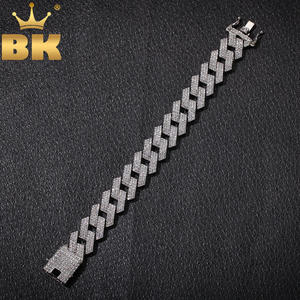 Bracelet Jewelry Prong Cuban-Link Miami Rhinestones Hiphop KING BLING Full-Iced-Out Men