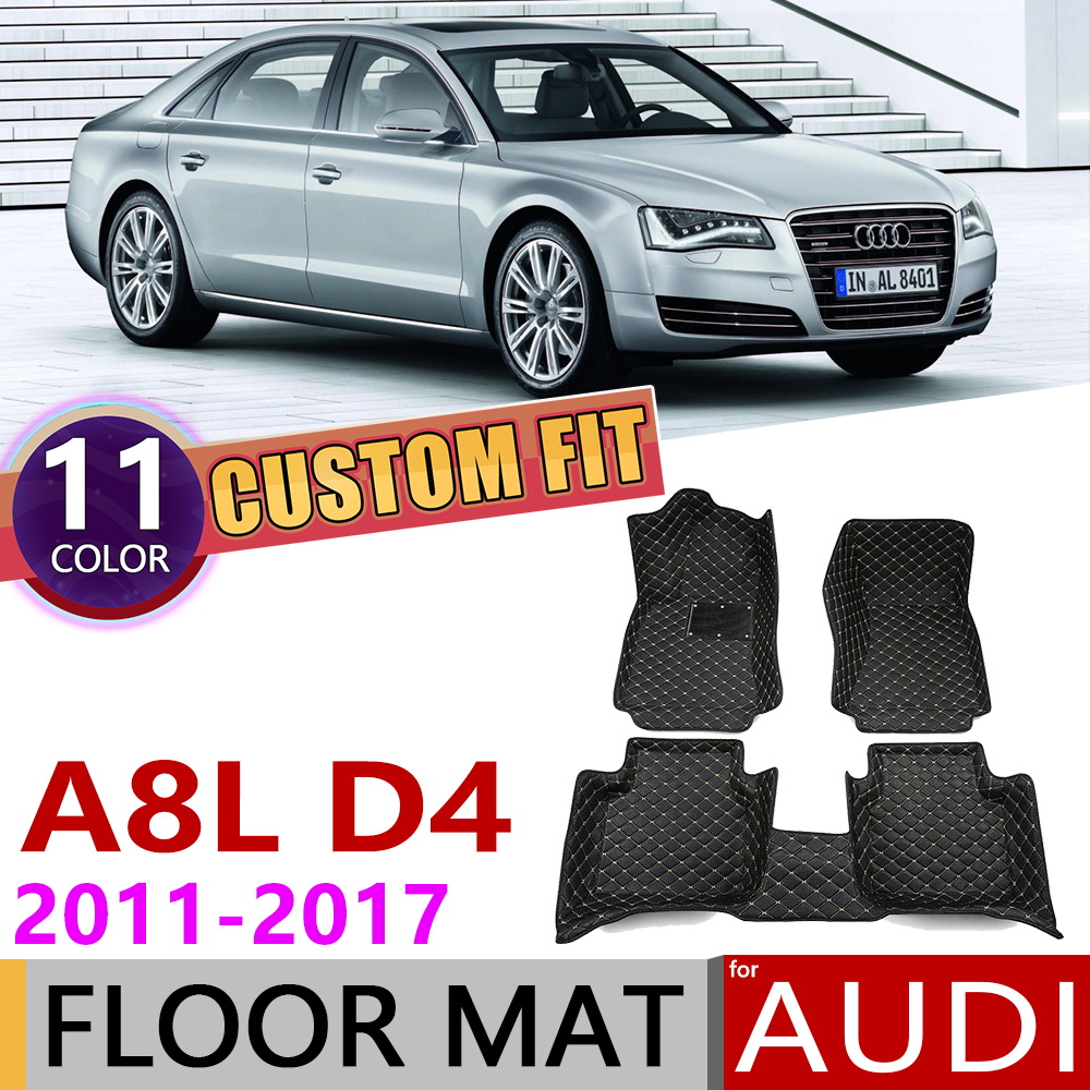 Custom Car Leather Floor Mat for <font><b>Audi</b></font> A8L <font><b>A8</b></font> L <font><b>4H</b></font> D4 2011~2017 5 Seats Auto Foot Pad Carpet Accessories 2012 2013 2014 2015 2016 image