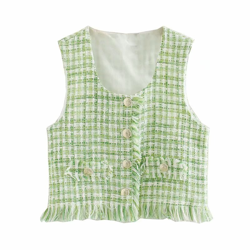 2020 Women Fashion Green Tweed Woolen Smock Blouse Ladies Square Collar Sleeveless Tassel Vest Shirts Buttons Blusas Tops LS6607