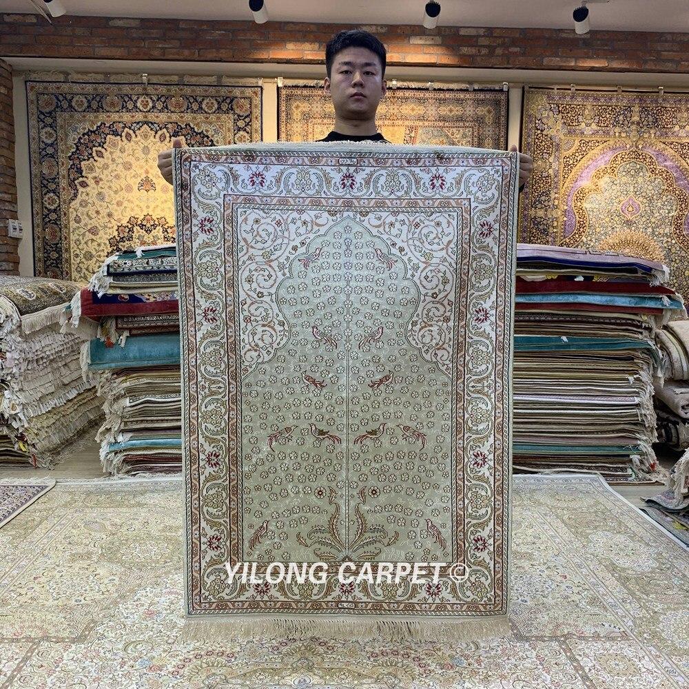 Yilong 2.7 'x4' Tabriz tapis de soie arbre de vie vantage fait à la main exquis turc tapis de soie (HF202B)