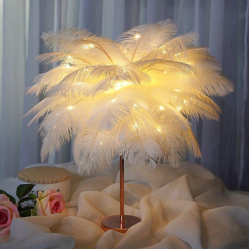Lampe de Table à plumes créative, lumière blanche chaude, arbre à plumes, abat-jour à plumes pour filles, lumières décoratives de mariage, cadeau d'anniversaire rose blanc