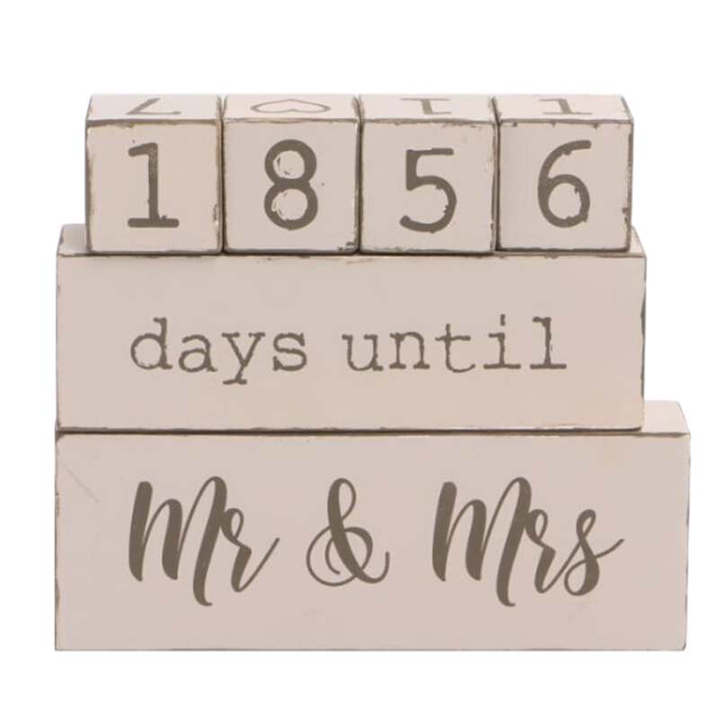 Countdown Calendar Blocks Sign - Counting Down Days Until Mr & Mrs - Wooden Engagement Gift Set For Engaged Couples - Rustic ,6