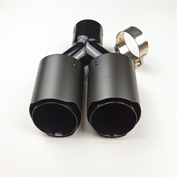 1PCS 63mm Double Barrel Car Exhaust Pipe Muffler 2.5'' Universal Car Inlet Dual Rear Muffler Carbon Exhaust Tips Tail Pipes