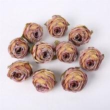5 pçs cabeça de flor de seda artificial rosa borda queimada rosa falso cabeça de flor diy decorações de casamento casa artesanato scrapbook acessórios