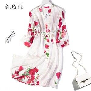Image 5 - % 100% saf ipek kadın uyku elbise pijama gecelik kemer bir boyut JN040