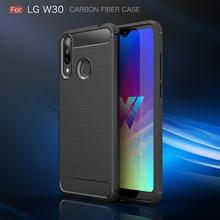 For LG W30 Case Silicon for W10 Cover Soft TPU Carbon Fiber Brushed Mobile Phone Funda Coque Etui Accessory