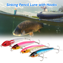 15cm 84g Sinking Pencil Lure Hard Bait Fishing Lure with 2 Treble Hooks Fishing Tackle seanlure high quality 6cm 6 3g 5pcs pack popper bait bionic lure fishing hard lure plastic bait treble hooks fishing tackle