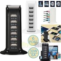 Fast Multi 6 porta USB Hub caricabatterie Desktop ricarica rapida Dock Station Home adattatore da viaggio multiplo presa a muro US AU EU UK spine