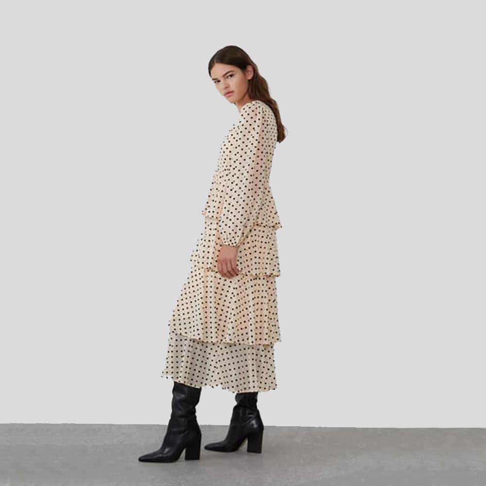 ZA 2019 New Beige Cascading Ruffle Dot Fashion Dress Women Clothes Boho Leisure Statement Loose V-neck Dress Party Gift Vacation