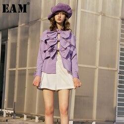 Женская блузка EAM, фиолетовая Свободная рубашка с длинным рукавом и бантом, с отложным воротником, на весну-осень 2020, 1R998