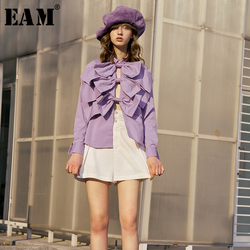 [EAM] Women Purple Bow Hollow Out Temperament Blouse New Lapel Long Sleeve Loose Fit Shirt Fashion Tide Spring Autumn 2020 1R998