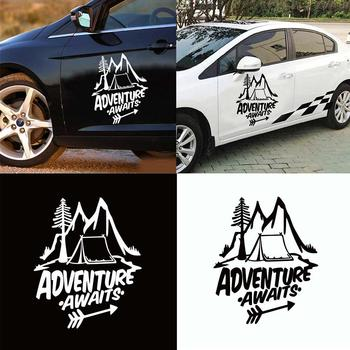 80% HOT SALES!!!New Arrival Unique Adventure Await Reflective Sticker Pine Tree Mountain Decal Car Decor image