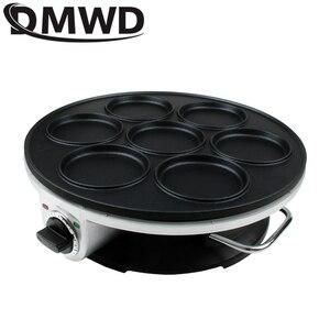 Image 5 - DMWD 7 trou poêle électrique omelette poêle pour oeufs jambon poêle gâteau fabricant poêles antiadhésive petit déjeuner Grill poêle marmite EU