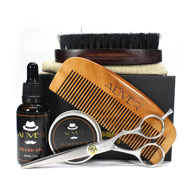 Newly Men Beard Care Grooming Trimming Kit Unscented Beard Conditioner Oil Mustache for Shaping Growth CLA88 4