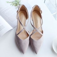 Women Pointed Toe Pumps Hasp High Heels 5cm Thin Heels Conciss Elegant Single Shoes Spring New Pumps Women Fashion Office Shoes cheap Elmardeirina Basic Flock High (5cm-8cm) Fits true to size take your normal size Mature Cross-tied Casual Microfiber Summer