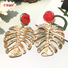 pair of stylish faux turquoise leaf alloy drop earrings for women CXQD Personality Alloy Gold Leaf Round Resin Dangle Drop Earrings For Women Girls Brincos Fashion Jewelry Christmas Party Gift