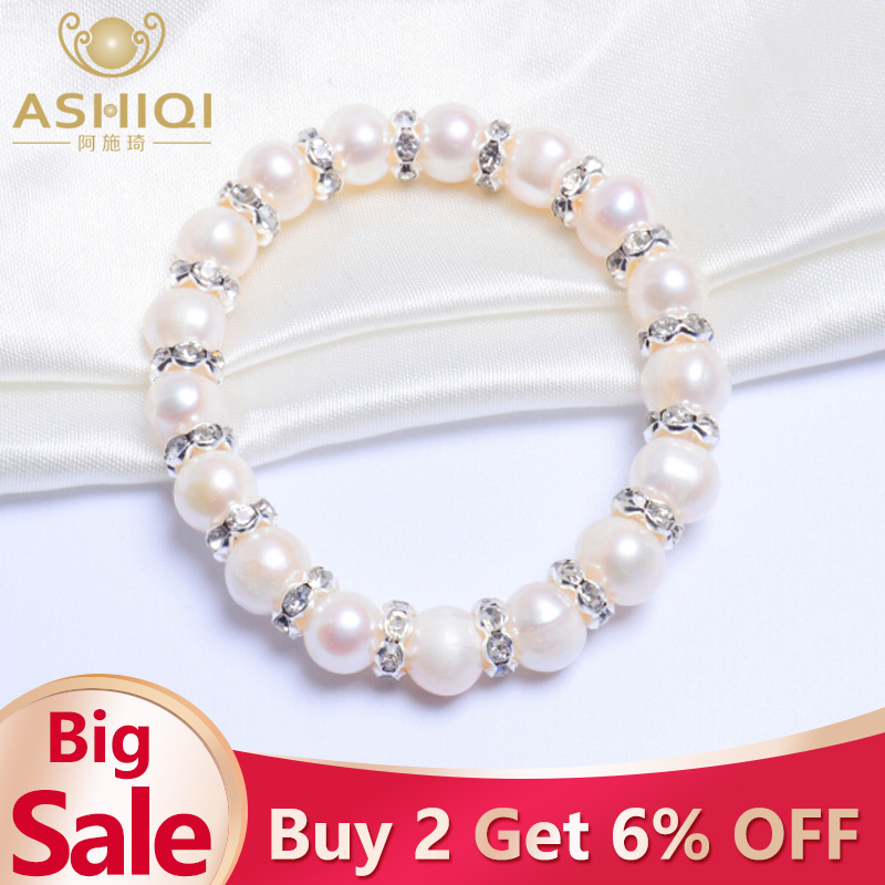 ASHIQI 8 9mm Real Freshwater pearl Bracelets for women Charm Bohemian in Bracelets Bangles from Jewelry Accessories