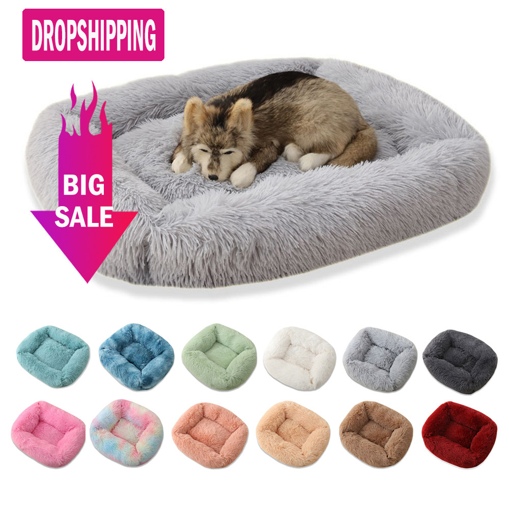 Square Dog Bed Long Plush Solid Color Pet Beds For Little Medium Large Pets Super Soft Winter Warm Sleeping Mats For Dogs Cats