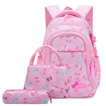 3 Pcs/Set Waterproof Children Schoolbag Bow Print Lunch Pencil Case Knapsack High School Backpack For Teenager Girls
