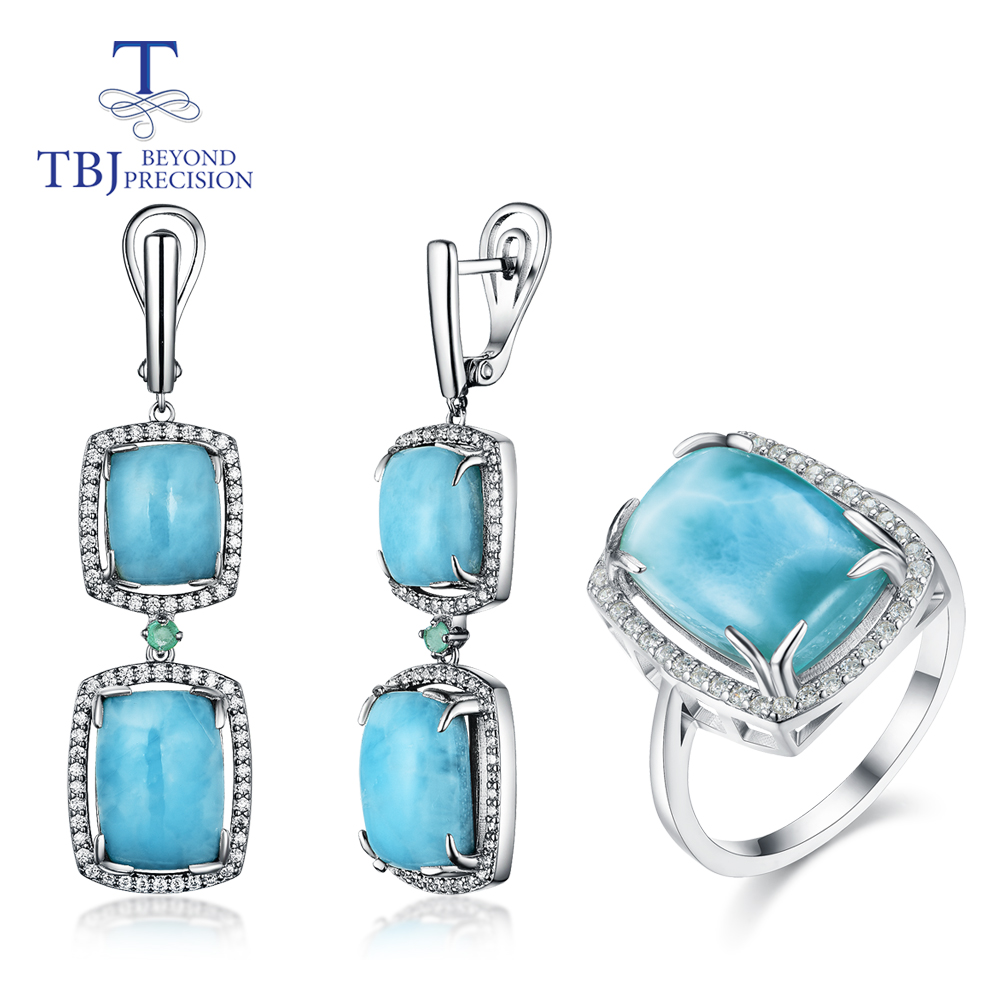 Natural Larimar Jewelry Set Emerald With 925 Sterling Silver Ring And Earring Fine Jewelry For Women Party Wear New Style 2020