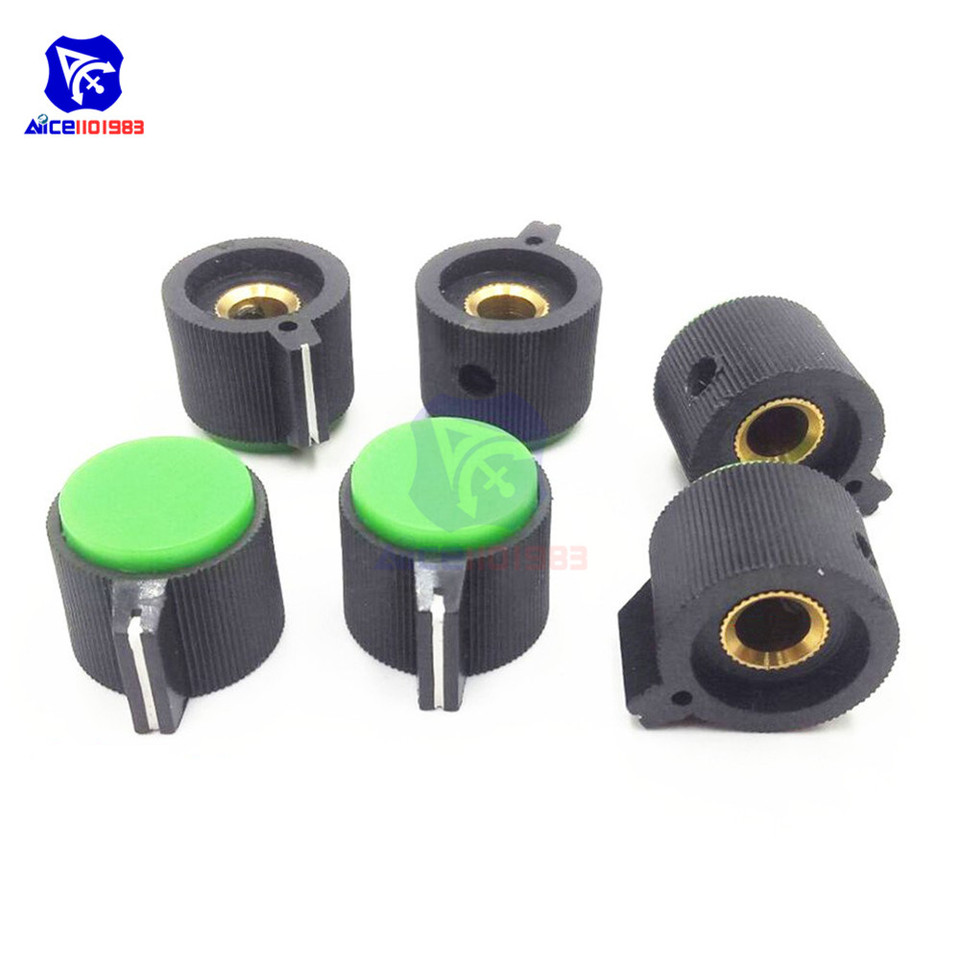 100pcs Shaft Insert Threaded Knurled Potentiometer Control Knobs Assorted Color
