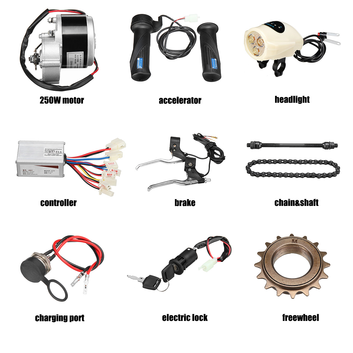 24V 250W 3300rpm Motor Controller Conversion Kit for 22-28 Bicycle Electric US
