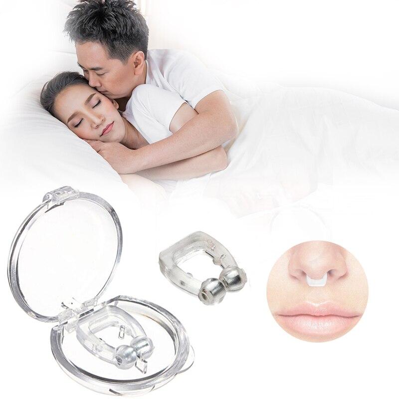 Силиконовый Магнитный против храпа Храп зажим для носа сон лоток аппарат для сна апноэ гвардии ночное видение устройства с Чехол