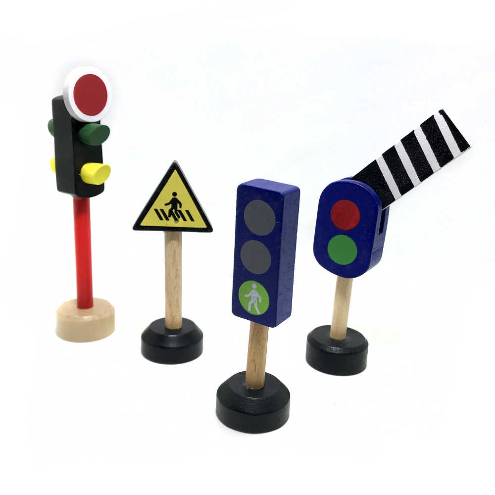 Free shipping wooden traffic light traffic light road sign street sign solid drag mas small train track scene accessories toy