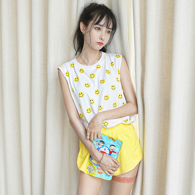 2019 Summer Qmilch Pajamas Women's Smiley Vest New Style Short Sleeve Shorts Casual Sports Homewear Set
