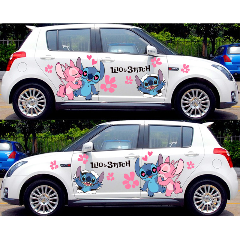 Funny Car Decals Anime Itasha Stickers For Lilo Stitch The Series Camouflage Sticker Auto Door Drift Racing Decal Car Stickers Aliexpress