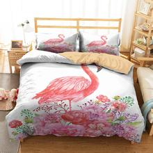 Complete Double Bed Cover Cartoon Flamingo Printed Comforter Duvet Clothes with Pillowcases King Double Size domino with markers double 6 double 9 double 12
