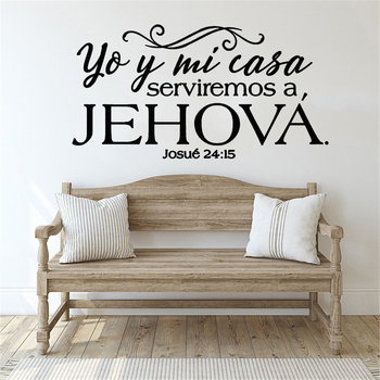 Josue 24:15 Bible verses vinyl wall stickers Spanish written Christian family wallpaper