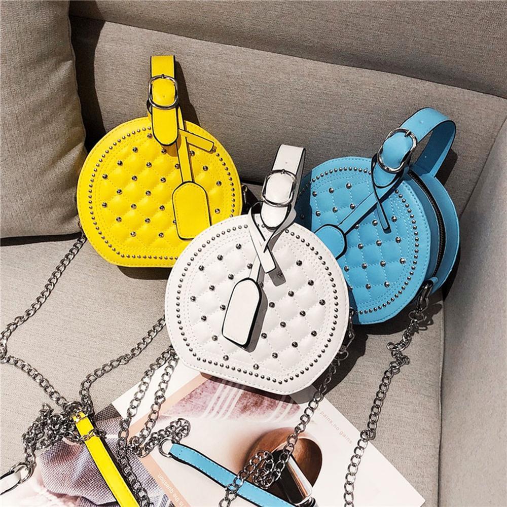 Fashion Shoulder Crossbody Bag For Women Bolsas Feminina PU Leather Messenger Bags Round Tote Rivet Chain Handbag Sac A Main