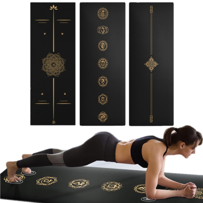 New Design High-end Luxury Gold Print Yoga Mat 183*68cm Yoga Mat Rubber Suede Non-slip Pilates Yoga Pad Camping Exercise Mat