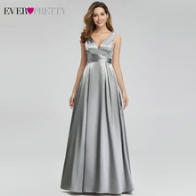 Sexy Satin Evening Dresses For Women Ever Pretty A-Line Double V-Neck Sleeveless Simple Formal Party Gowns Lange Jurken 2019