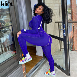 Kliou autumn fashion women full long sleeve zipper jumpsuits striped stretchy activewear fitness sporty workout skinny outfits