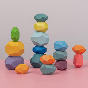 Rainbow Wooden Toy Building-Block Educational-Toy Stacking-Game Jenga Colored-Stone Nordic-Style