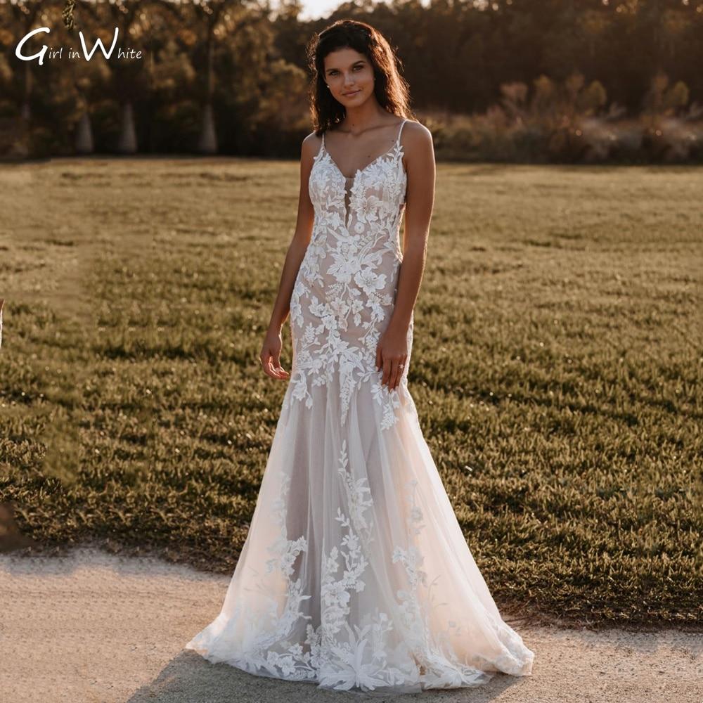 Vestido De Novia Romantic Lace Appliques Mermaid Wedding Dresses Sexy  Spaghetti Straps Trumpet Bridal Robes Bridal Gown
