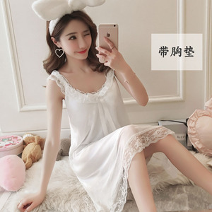 Image 5 - Camisón de algodón para mujer, Sexy, de encaje, sin mangas, con espalda descubierta y lazo, Estilo Princesa, Vintage