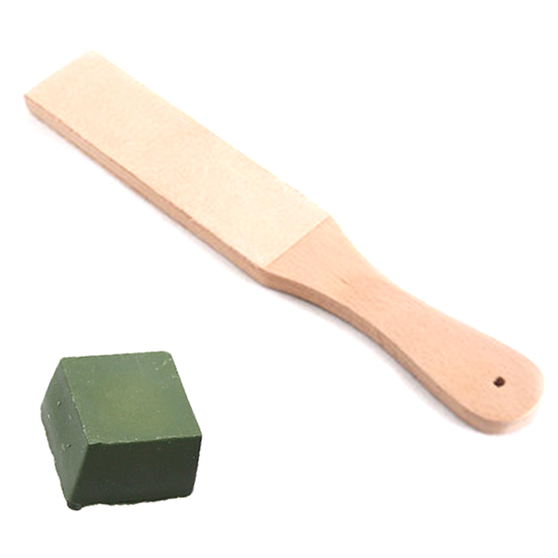 Knife Sharpener Set Wooden Handle Leather Sharpening Strop Handmade Razors Polishing Board And Polishing Wax Leather Paste