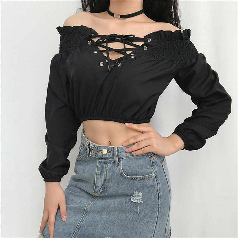 Nowych kobiet Off ramię z długim rękawem Ruffles dekolt w kształcie litery v Crop topy bluzka kobiety koszula na co dzień panie bandaż zasznurować zakrętka tubki czarny