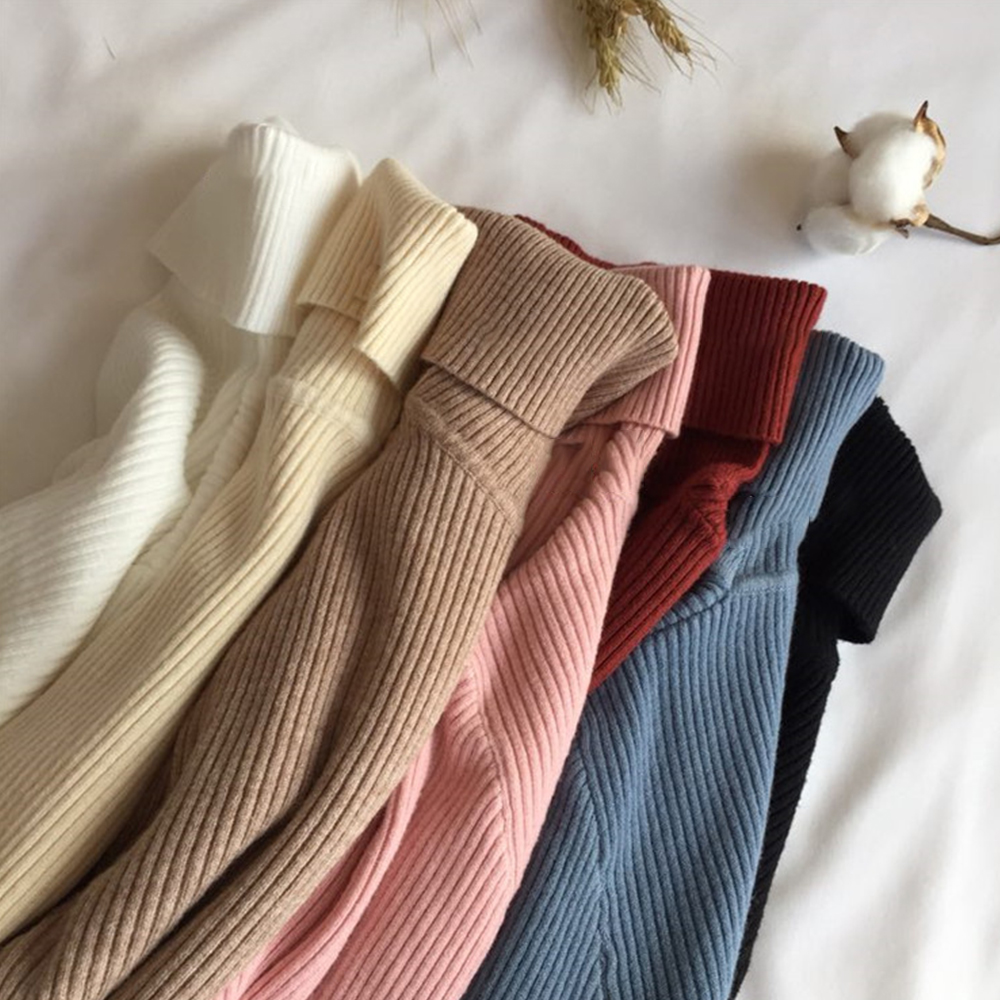 Gentillove 2019 Women Sweater Casual Solid Turtleneck Female Pullover Full Sleeve Warm Soft Spring Autumn Winter Knitted Cotton