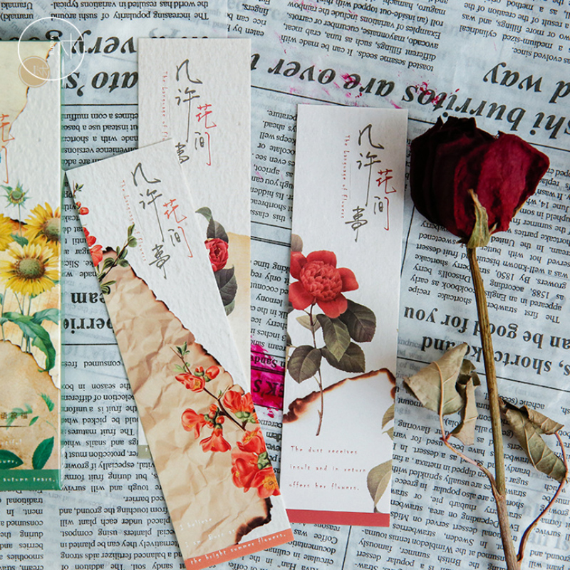 30Pcs/pack Cute Flower Vintage Plant Paper for Book Reading Maker Page Paper Bookmarks