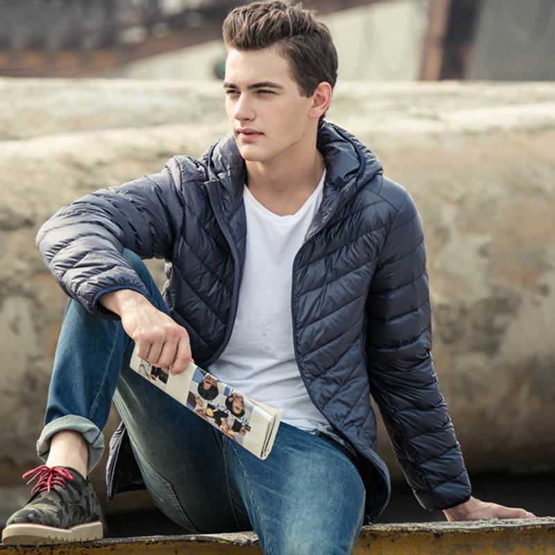 2019 Mens Hooded Coats Jackets Warm Duck Down Filler Fashion Light Thin Style Plus Size 3XL-7XL Spring/Autumn Male Basic Jackets