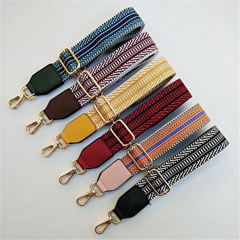 High Quality Colored Belt Bags Accessories For Women Rainbow Adjustable Shoulder Hanger Handbag Straps Decorative Strap Obag