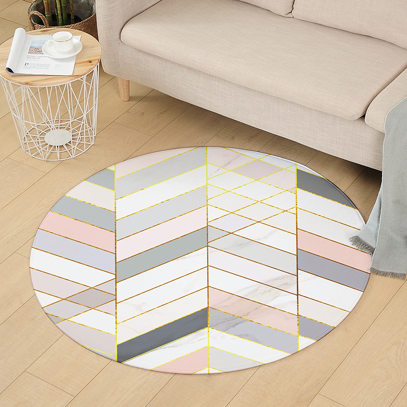 Cilected 120CM Round Bedroom Carpet Geometric Living Room Soft Chair Mat Kitchen Bathroom Non-Slip Waterproof Home Rugs