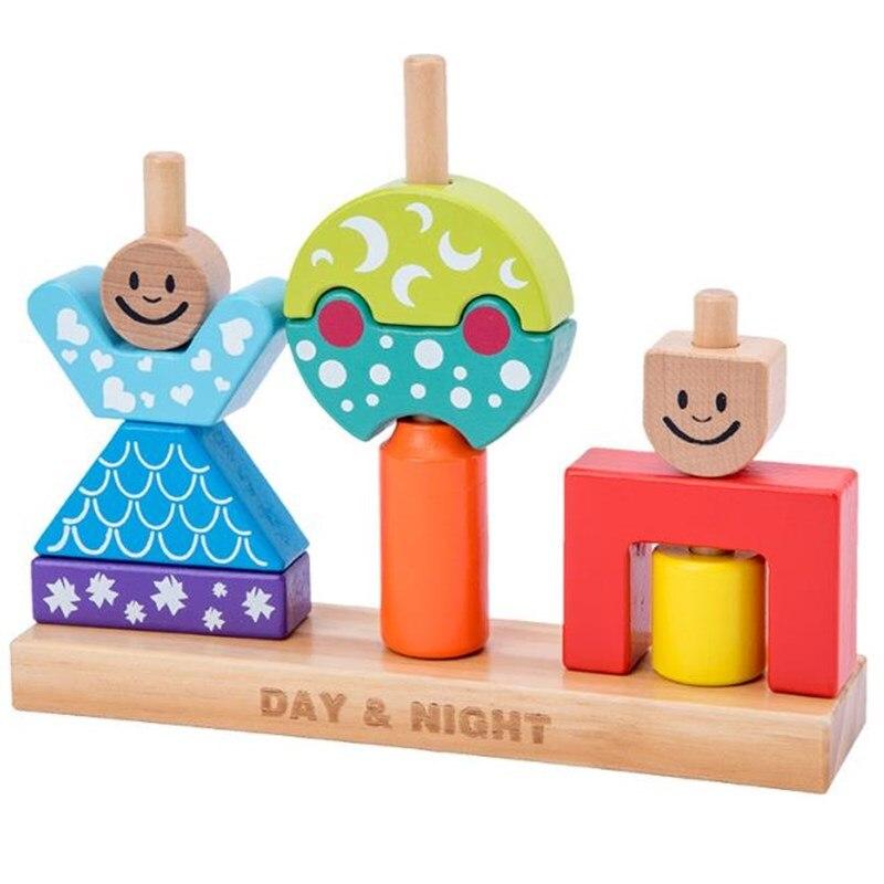 Day & Night Pillar Blocks Montessori Wooden Block Toys Parent-child Interaction Games Shape Building Block