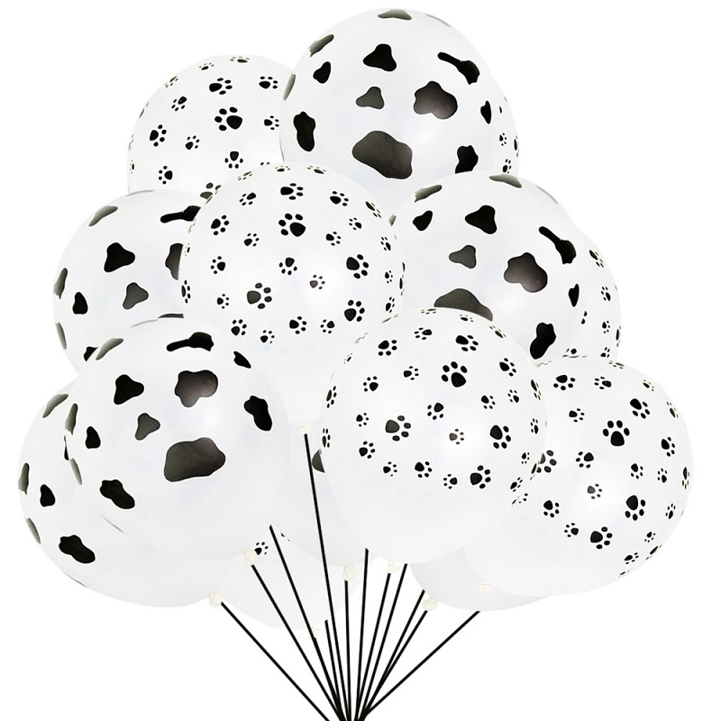 100Pcs 12inch Cow Print dog paw print Balloons Latex Farm Animal <font><b>Happy</b></font> <font><b>Birthday</b></font> Party Supplies Holiday wedding Thicken Ballons image